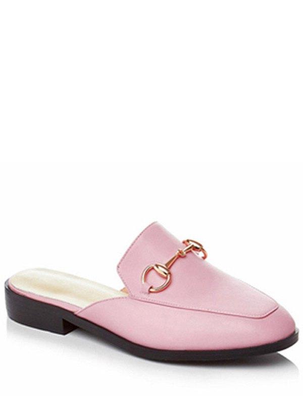 Metal Solid Color Flat Heel Sandals - PINK 36
