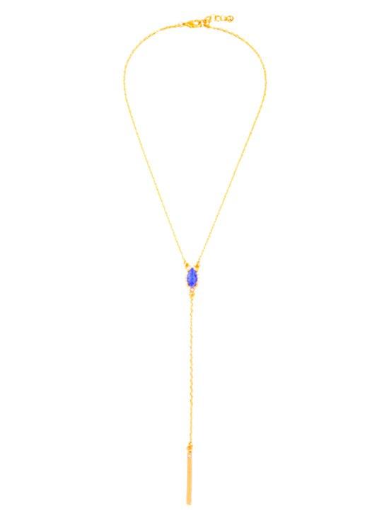 Oval Faux Sapphire Pendant Necklace - GOLDEN
