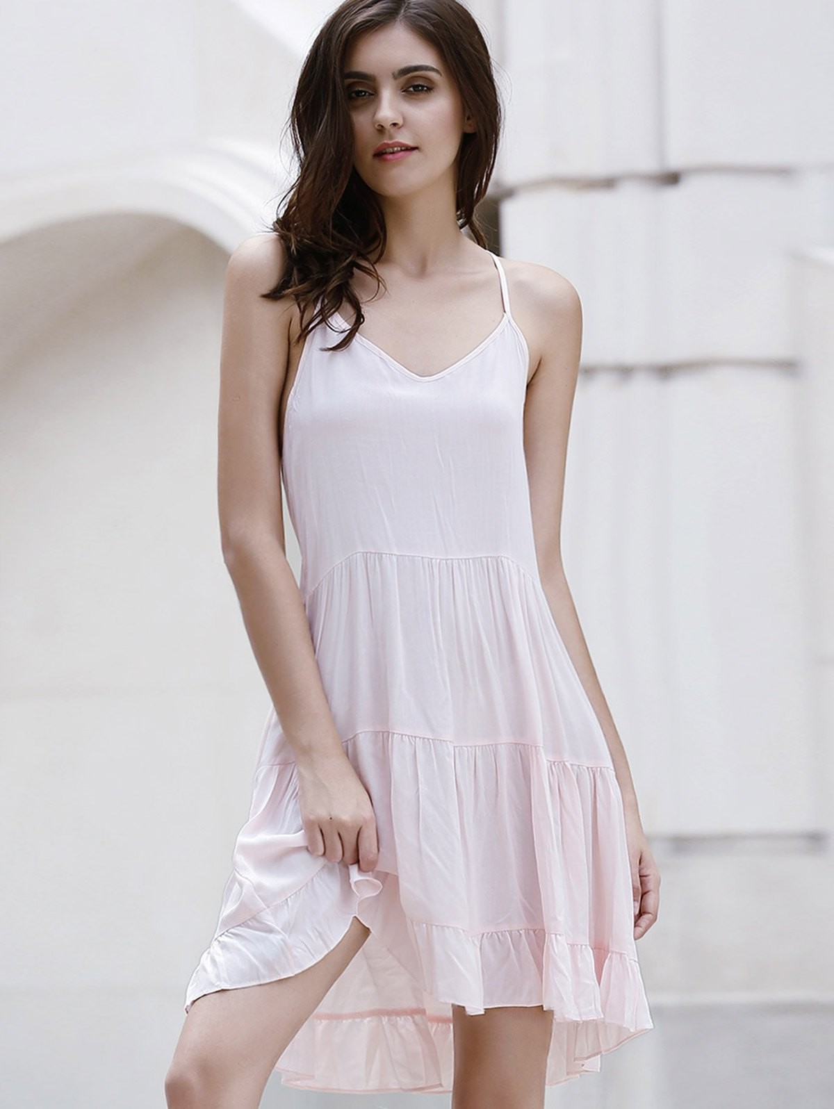Flounce Ruffles Solid Color Spaghetti Straps Dress - PINK S