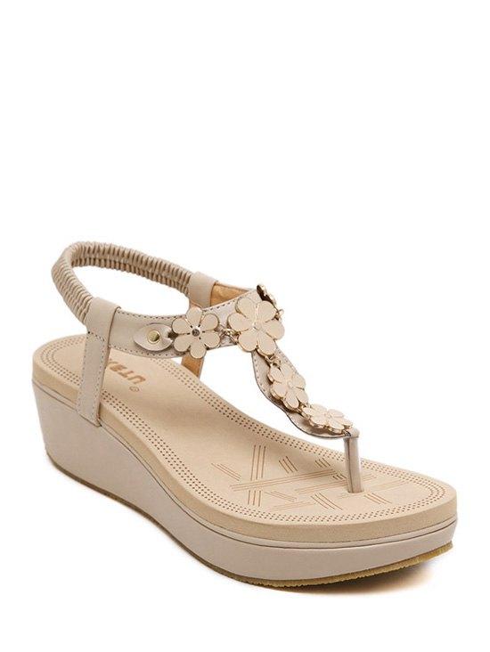 Flower Elastic Platform Sandals