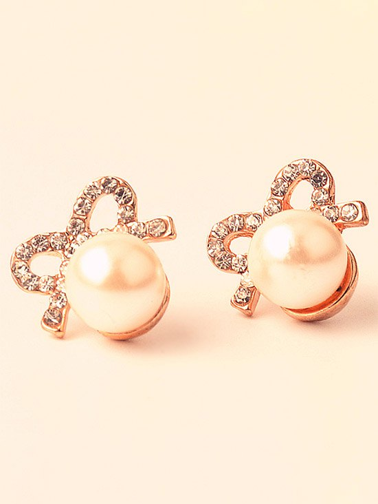 Artificial Pearl Rhinestone Bows Earrings