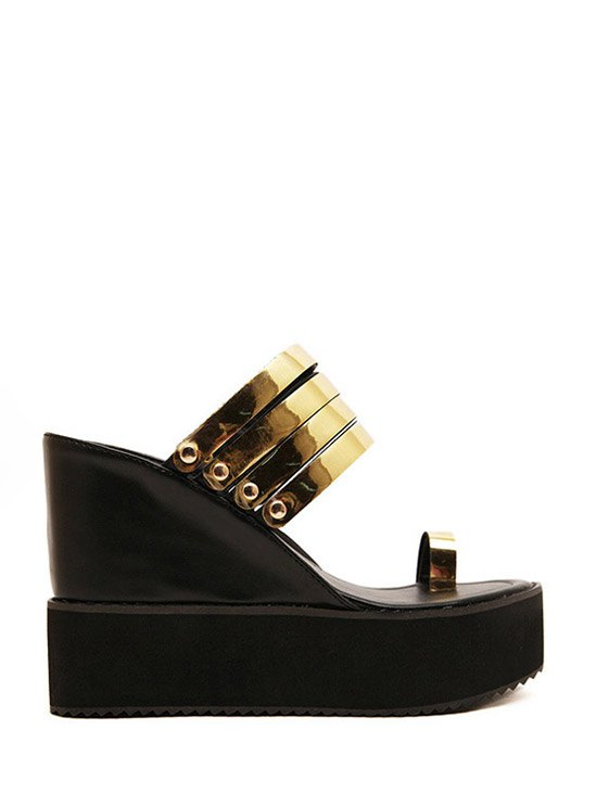 Toe Ring Platform Wedge Heel Slippers