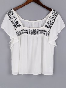 Embroidery Square Neck Short Sleeve Blouse - White S