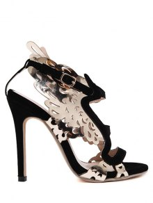 Hollow Out Wings Stiletto Heel Sandals - Black 38
