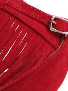 Solid Color Fringe Stiletto Heel Sandals - RED 38