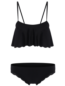 Black Cami Ruffles Bikini Set - BLACK S