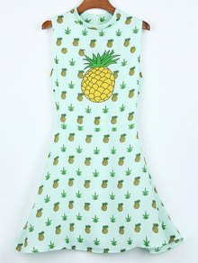 Hawaiian Pineapples Print Stand Neck Sleeveless Dress