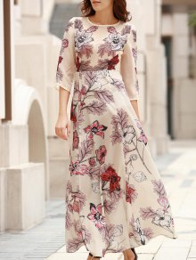 3/4 Sleeve Floral Print Long Dress - Off-white