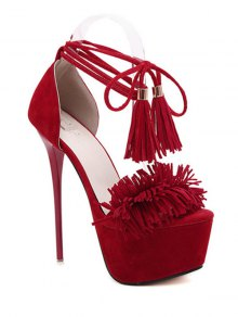 Fringe Platform Lace-Up Sandals - Red 36