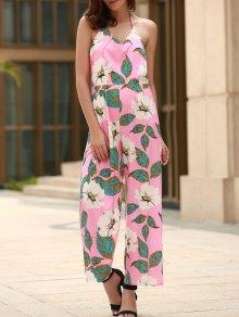 Floral Print Halter Backless Jumpsuit - Pink