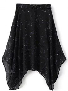 Galaxy Spaghetti Strap Chiffon Dress - Black