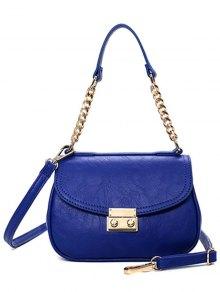 Metal Chains Solid Color Shoulder Bag - BLUE