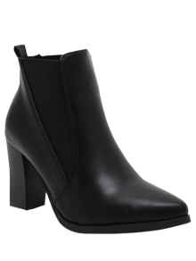 Pointed Toe Chunky Heel Elastic Ankle Boots - Black