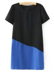 Color Block Short Sleeve Round Collar T-Shirt Dress - Blue