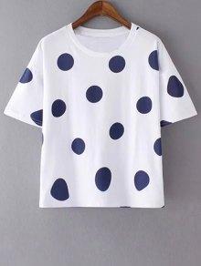 Polka Dot Round Neck Short Sleeves T-Shirt
