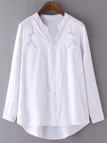Embroidery Stand Neck Long Sleeve Shirt