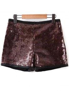 Back Zipper Sequins Shorts - Deep Brown S