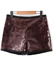 Back Zipper Sequins Shorts - Deep Brown M