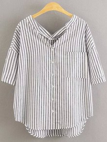 Preppy Style Striped Dropped Sleeve Shirt