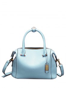 PU Leather Candy Color Tote Bag - Blue