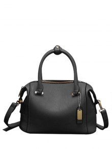PU Leather Candy Color Tote Bag - Black
