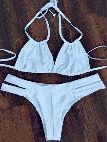 Halterneck White Bikini Set