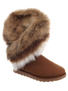 Color Block Faux Fur Snow Boots - Brown