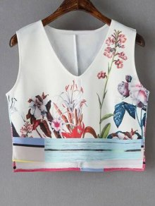 Floral Print V-Neck Cropped Tank Top