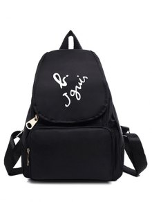 Zip Letter Print Nylon Satchel - Black