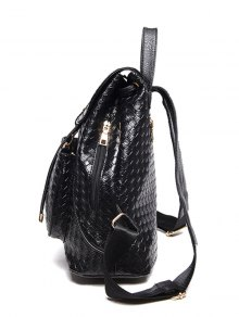 Weaving Solid Color PU Leather Satchel - BLACK