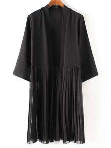 Tassels Spliced 3/4 Sleeve Black Coat