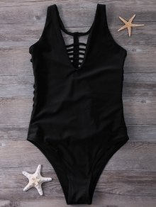 Strappy One-Piece Swimwear - Black