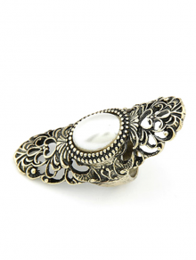 Faux Pearl Hollow Out Retro Ring - GOLDEN ONE-SIZE