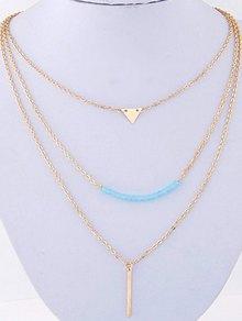 Three Layered Pendant Necklace - Golden