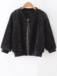 Solid Color Sequined Stand Neck 3/4 Sleeve Jacket