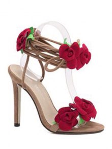 Rose Lace-Up Stiletto Heel Sandals - Apricot