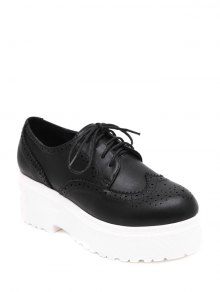 Engraving Solid Color Lace-Up Platform Shoes - Black