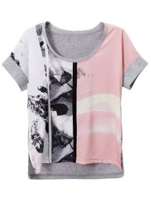 Printed Scoop Neck Short Sleeve Loose T-Shirt - GRAY L