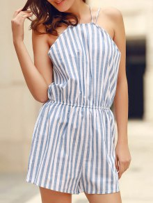 High Neck Vertical Stripes Beach Romper