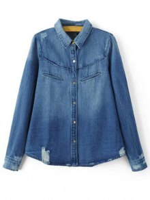 Ripped Turn-Down Collar Long Sleeve Denim Shirt