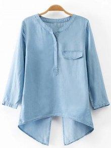 Back Slit Stand Neck 3/4 Sleeve Denim Blouse - Light Blue M