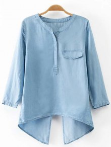 Back Slit Stand Neck 3/4 Sleeve Denim Blouse