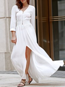White V Neck 3/4 Sleeve Slit Maxi Dress - White