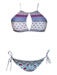 High Neck Tribal Print Keyhole Bikini