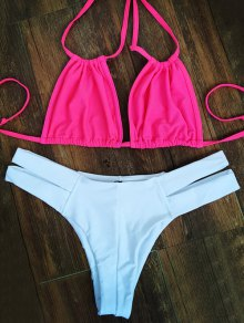 Hit Color Lace-Up Bikini Set - Pink And White M