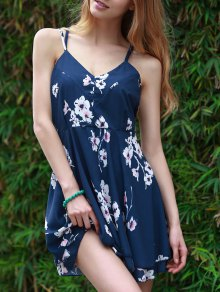 Slip Backless Floral Print Swing Dress - Blue