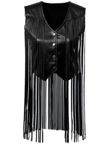 PU Leather Tassels V Neck Waistcoat - Black