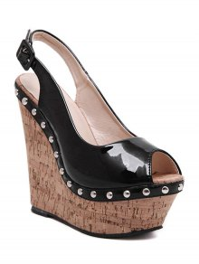 Rivet Slingback Wedge Heel Peep Toe Shoes - Noir