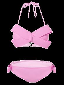 Halterneck Bowknot Bikini - Pink