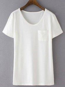 Patchwork Pocket Solid Color T-Shirt